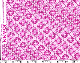 1 Yard, White Floral Tiles on Pink Cotton