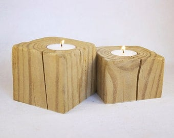 Pair of Rough and Rustic Reclaimed Wood Tea Light Candle Holders with Soy Candles - Cracked and Craggy Driftwood