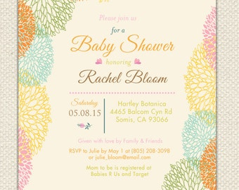 ANY EVENT - Floral Baby Shower Bridal Shower Wedding Bridal Luncheon Invitation Printable Digital