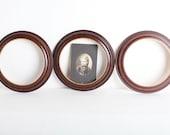 Vintage Wooden Frame Set, Set of Three Small Round Wood Frames