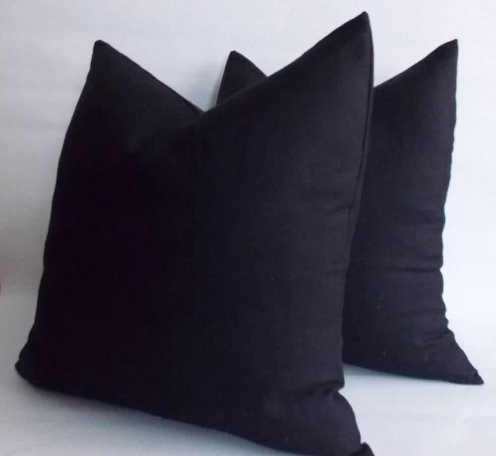 Black Linen Throw Pillows : Set of 2 / Black Linen Pillow Linen Pillow Cover Decorative