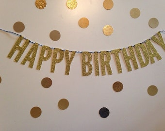 Happy Birthday Banner on Black and White Twine-Gold Glitter
