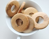 Set of 5 juniper wooden rings 40 mm - natural eco friendly - teething necklace