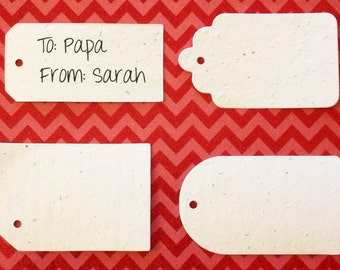 "6 sets of 4 (24) Gift Tag Plantable Seeded Paper Shape Favor Tags 3"", Available in 39 Colors"