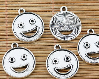 20pcs tibetan silver round laughing face design charms EF1472