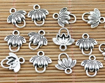 100PCS Tibetan silver color leaf charm connector design EF1489