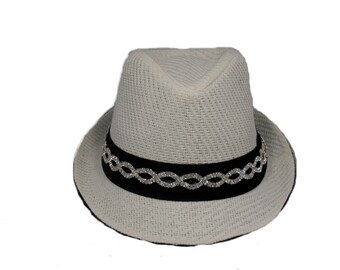 White and black bling fedora hat