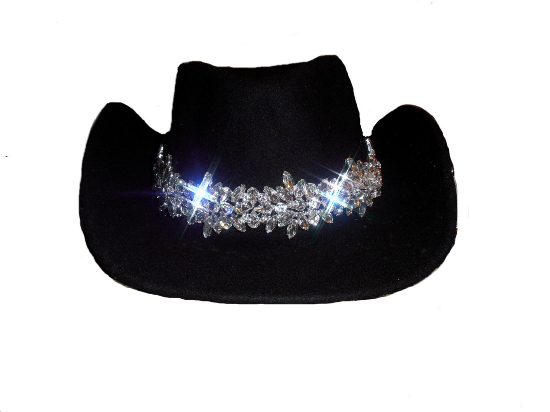 womens black felt ultimate bling cowboy hat by timetwochange