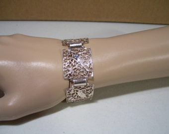 Vintage Silver Tone Germany Filigree Fish & Starfish Bracelet, Vintage Jewelry