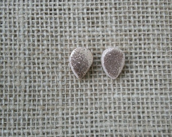 Pink and Gold Sparkle Teardrop Polymer Clay Earrings