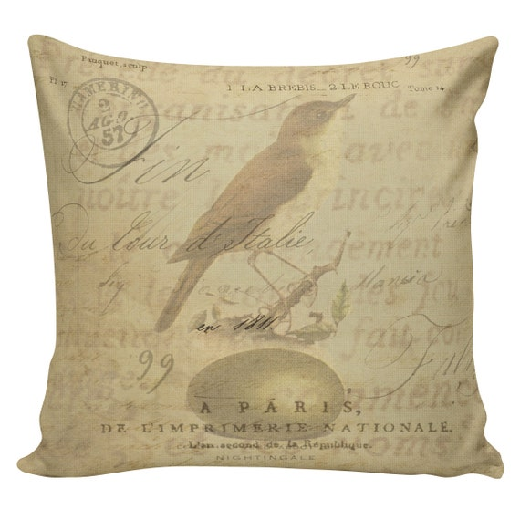 Items similar to Vintage French Pillow Bird Antique Document Burlap Cotton Throw Pillow Cover AN ...