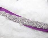 SALES - Rhinestone applique, Iron sew crystal applique, Wedding dress applique, Long wedding sash, Swarovski Rhinestone Crystal applique