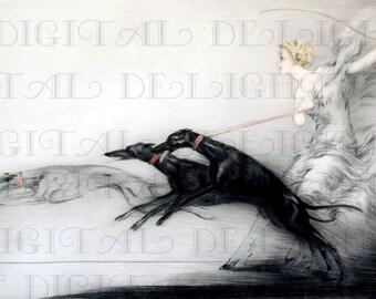 RARE! Equisite Flapper And Racing GREYHOUDS! Louis ICART. Vintage Illustration. Doggy Dog Digital Download. Vintage Deco Flapper Print.