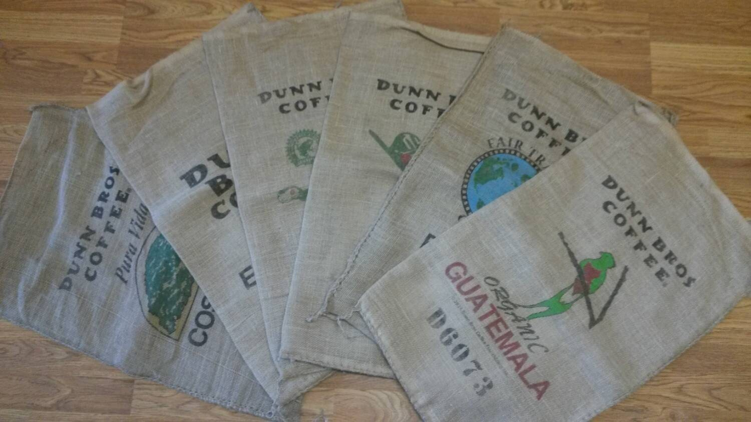 Burlap coffee bags set of 6 dunn brothers rustic home coffee Burlap bag decorating ideas