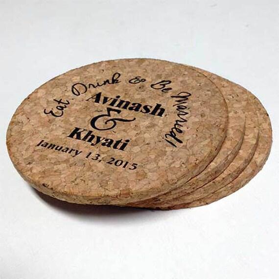 Wedding Cork Coaster: Wedding Favours Engraved Cork Coasters Set Of 4