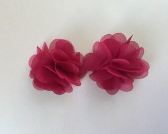 Fuchsia chiffon hair clips