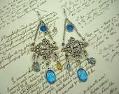 Vintage religious medals bohemian victorian assemblage earrings, crystal filigree statement earrings, blue medals chandelier earrings