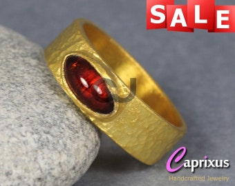 SALE 30% OFF - Natural Cabochon Orange Tourmaline Hammered Wide Ring, 24K Yellow Gold Vermeil Over 925K Sterling Silver Gemstone Ring