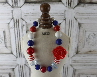 Chunky Bead Necklace - 4th of July - Girls Red, White and Blue Chunky Necklace - For Toddler, Girl or Photo Prop