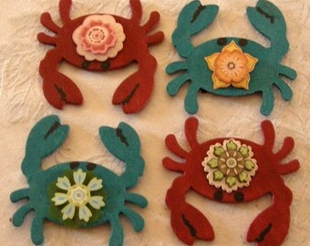 Hand Crafted Crab Wood Magnets 4/12