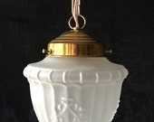 Reserved. Original vintage frosted glass pendant