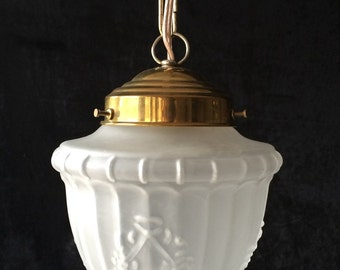 Original vintage frosted glass pendant