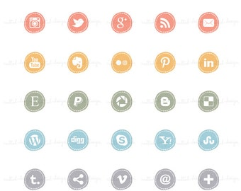 INSTANT DOWNLOAD - 25 Social Media Icon Buttons / For blog or website - A53