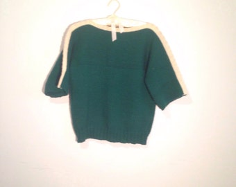 Green and cream hand knit sweater, boatneck pullover, stripe, medium - Vintage -