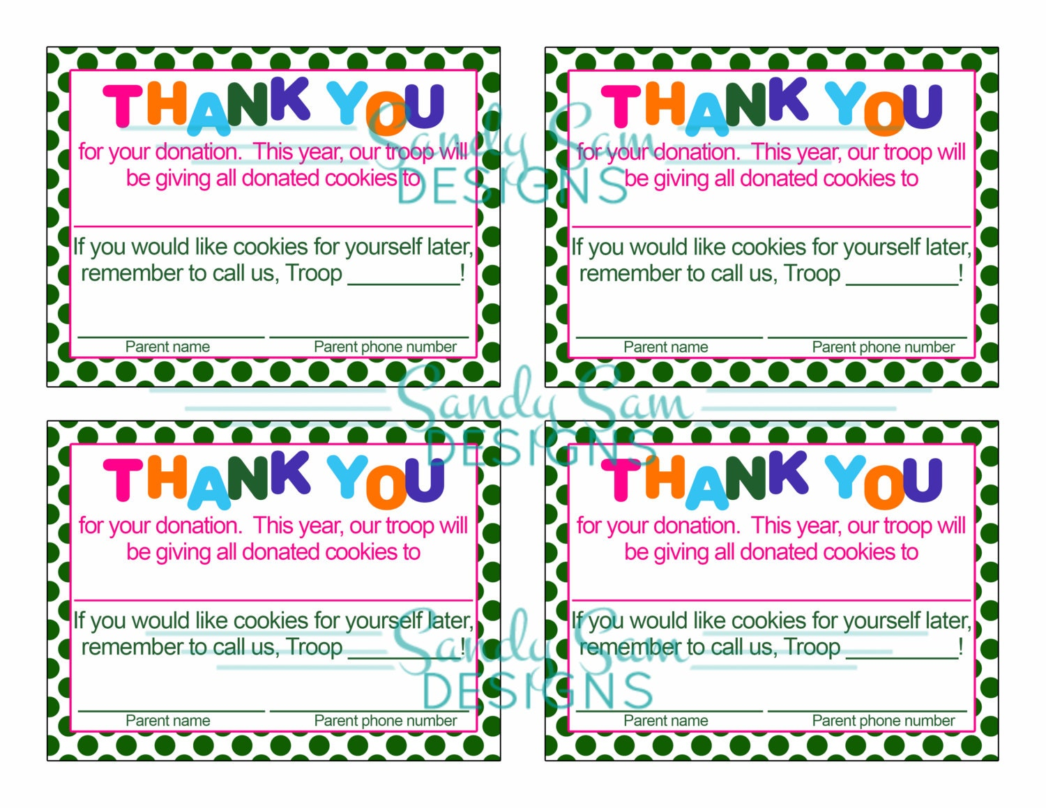 girl scout cookies thank you cards download foto gambar