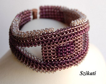 FREE SHIPPING Eggplant Purple Statement Beadwoven Seed Bead Bracelet, Women's Beaded Fashion Jewelry, Beadwork Accessory, Gift for Her, OOAK