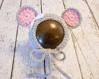 Crochet Baby Mouse Bonnet-Newborn to 6-12 Months- Grey and Pink- Photo Prop
