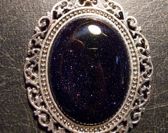 Universal Galactic Blue Goldstone Rock Cabochon Universe Necklace