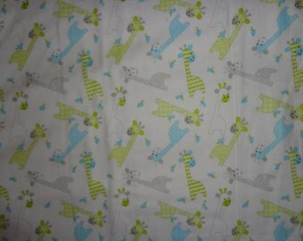 White with Giraffee Flannel Fabric by the Yard