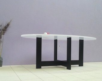 ELLIPTICAL DINING TABLE  1:12 Scale  Model, Metal & Glass, Collectible Dollhouse Miniature Furniture, Modern Design