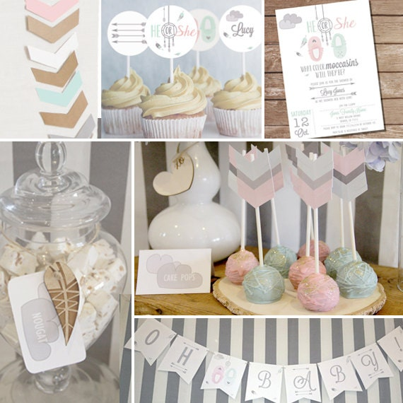 Neutral Baby Themes: Tribal Baby Shower Theme In Grays And White Tribal Unisex