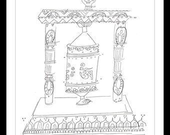 """Black and White Art Print: """"Prayer Wheel"""" - Pen and ink blind contour drawing of a himilayan prayer wheel. A4"""