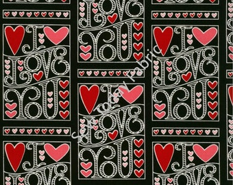 I Love You Cards on Black Fabric - I Love You Collection by Marie Cole from Henry Glass Fabrics 6295-99 (sold by the 1/2 yard)