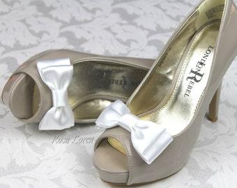 White Shoe Bows, White Bow Shoe Clips, White Wedding Accessories Shoes Clip, White Bow Clip Shoes