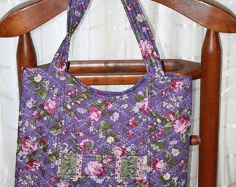 Large Handmade Quilted Purple Tote