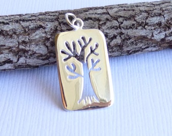 Sterling Silver Rectangular Cut Out Tree Pendant -- One Piece -- Family Tree Charm