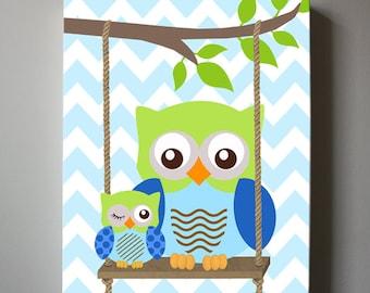 Chevron Owl Nursery Art Owl Nursery Decor Canvas Art , Blue and green nursery - Kids wall art, Baby Boy Owl Nursery Art - Streched Canvas