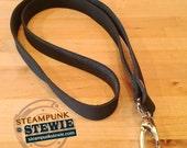 Leather Full Grain Lanyard ID Badge Holder- Black Steampunk