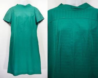 Vintage 60's Green Short Sleeved Shift Dress L