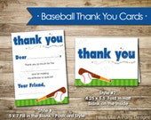 Baseball Thank You Cards - Instant Download