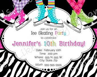 Custom Pink Ice Skating Party Invite