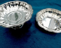 2 silver plated dishes, pedestal dish & sweet bowl, small comport with flat dish, Oneida USA, fluted design