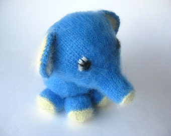 Toy for a baby, Nursery toy, Baby, showers, Knitted Elephant, Mohair, Angora, Elephant, Stuffed plush,