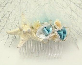 Starfish hair comb,  mermaid hair comb, beach wedding accessories, starfish comb, ballet hair piece, star fish comb, nautical hair, seashell