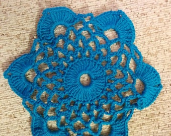 Small lace round oval blue table doily napkin cover placemat centerpiece