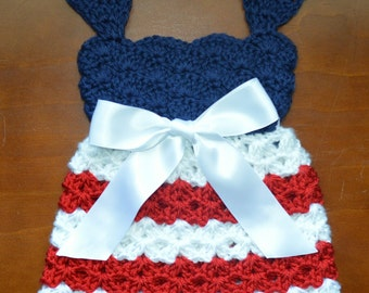 Crochet Fourth of July Patriotic Baby Dress, Red White Blue Memorial Day Photo Prop Custom Girl Costume Memorial Day Fourth of July